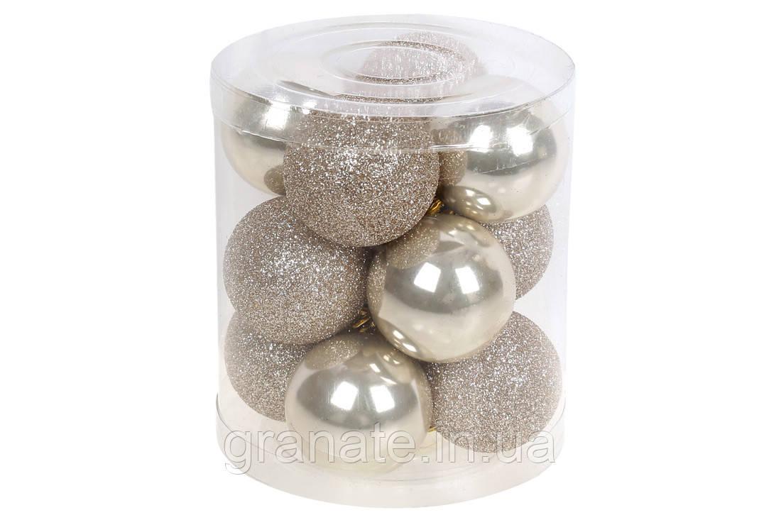 Набор елочых шаров 4см, цвет - шампань, 12шт: перламутр и матовый
