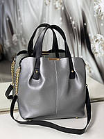 Женская серебристая сумка на плечо вместительная классическая деловая графит кожзам