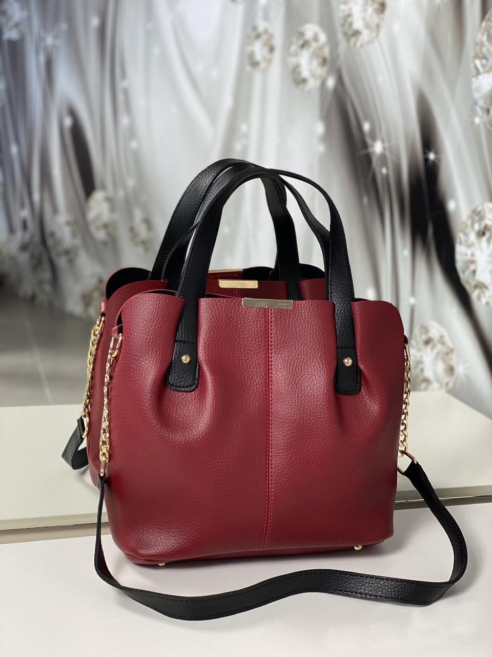 Сумка красная женская вместительная шоппер черные ручки кожзам