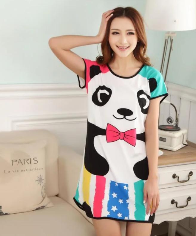 Домашнее женское платье с пандой, сорочка домащняя