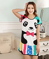 Домашнее женское платье с пандой, сорочка домащняя, фото 1