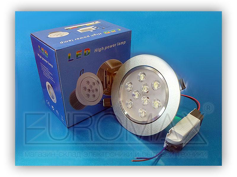 Лампочка LED 9W врезная круглая точечная 1404