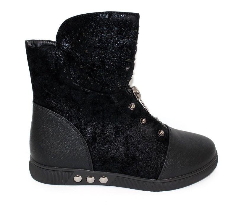 Ботинки для девочки черного цвета на плоской подошве