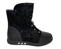 Ботинки для девочки черного цвета на плоской подошве, фото 1