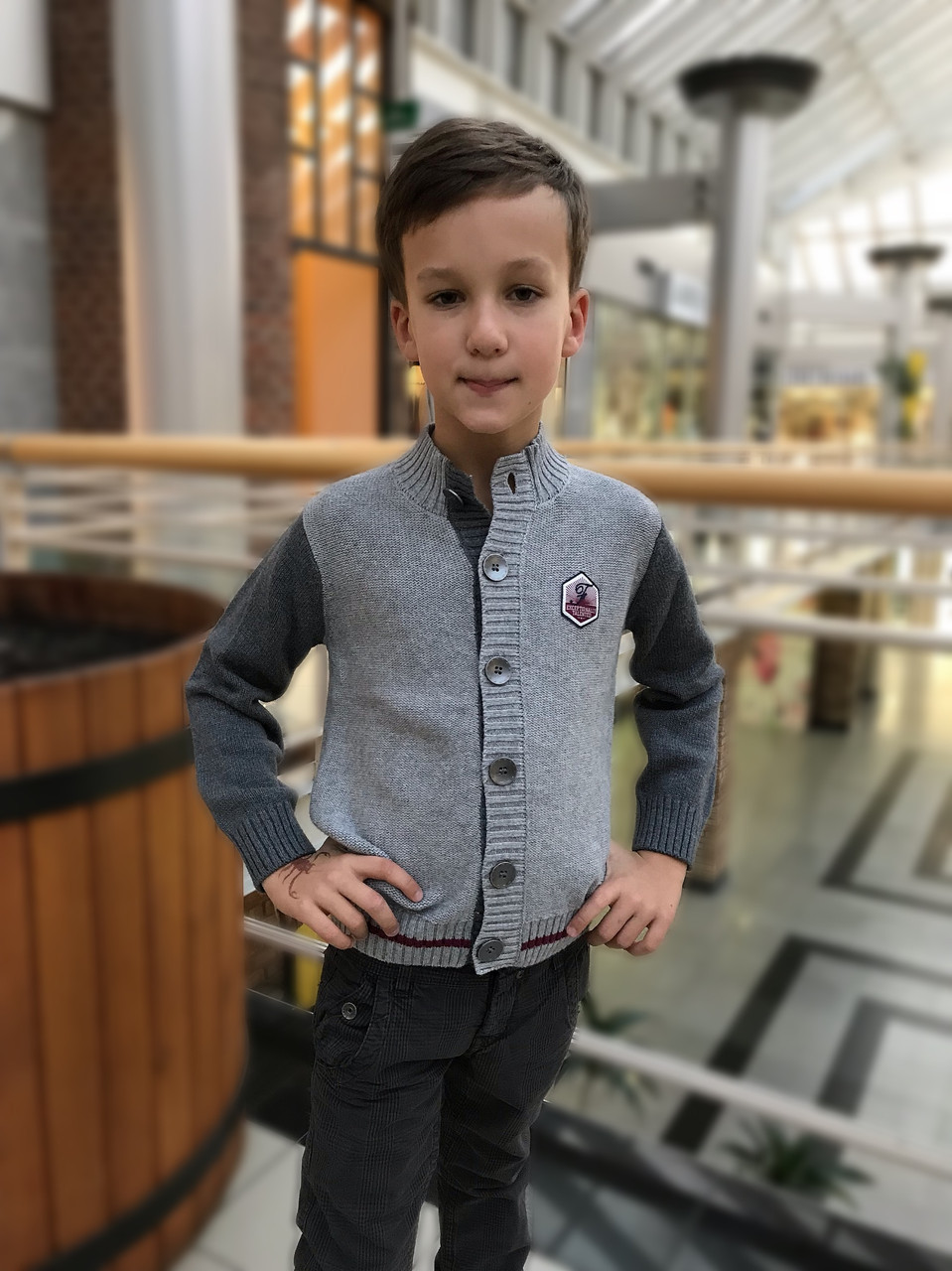 Детский кардиган для мальчика BIMBUS Италия 153IFFL010 серый