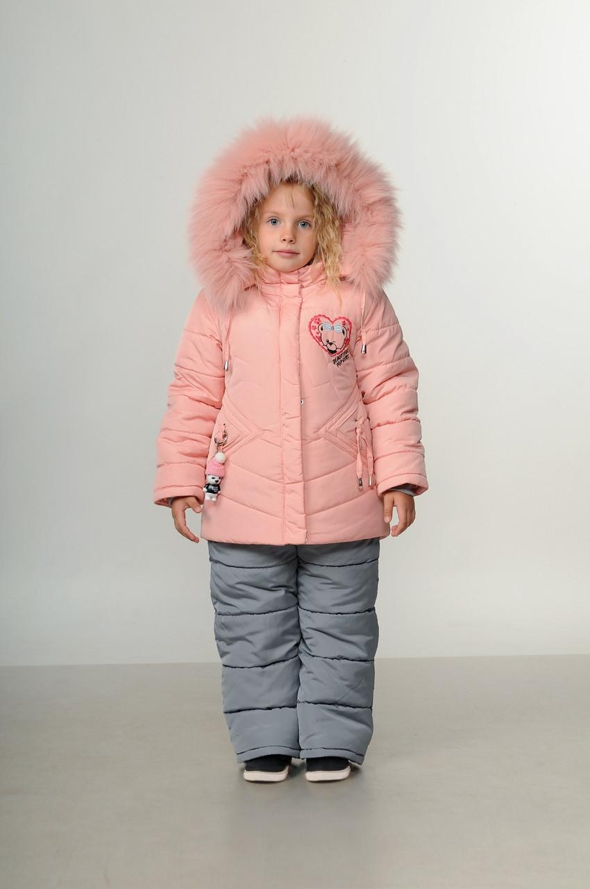 Дитячий зимовий комбінезон для дівчинки 22-26 Пудра