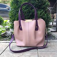 Женская сумка на плечо классическая шоппер вместительная 3 отделения пудровая экокожа, фото 1
