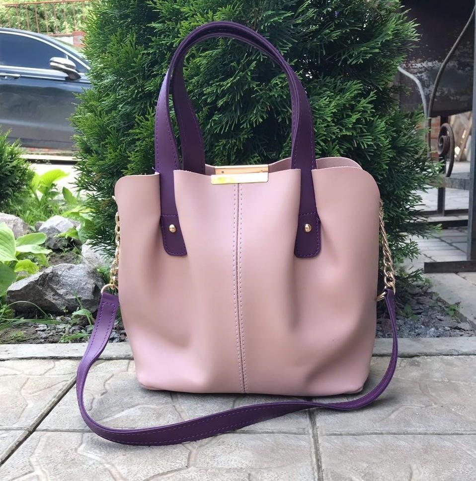 Женская сумка на плечо классическая шоппер вместительная 3 отделения пудровая экокожа