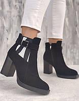 Модные женские замшевые ботинки на каблуке 8см с принтом, размеры 36-40