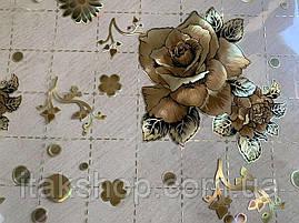 Мягкое стекло Скатерть с лазерным рисунком для мебели Soft Glass 1.4х0.8м толщина 1.5мм Кофейная роза, фото 2