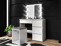 Туалетный столик c зеркалом и подсветкой Homart 6 LED белый (9283)