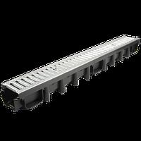 Водоотвод ZMM MAXPOL с оцинкованной решеткой класс А 15, Размеры 1000*114*78 мм