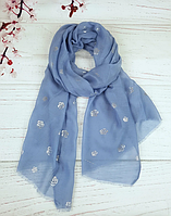 Тонкий шарф Fashion Асия из вискозы 180*80 см голубой
