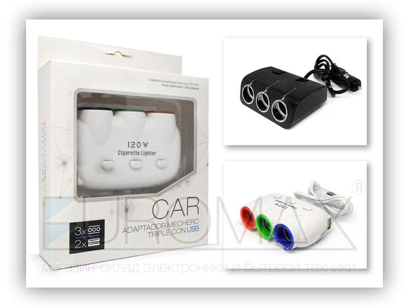 Зарядное устройство авто USBx2 тройник в прикуриватель 100шт D20
