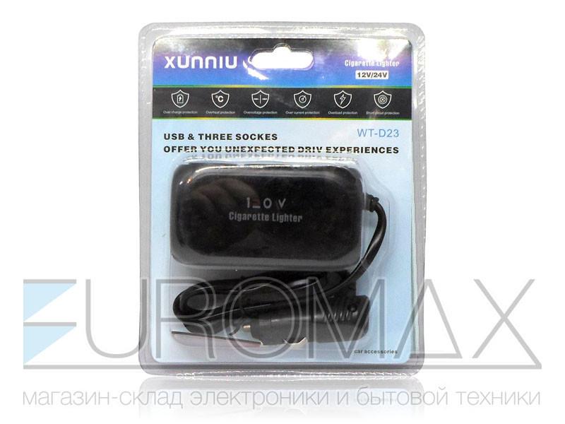 Зарядное устройство авто USBx2 тройник в прикуриватель 100шт D23