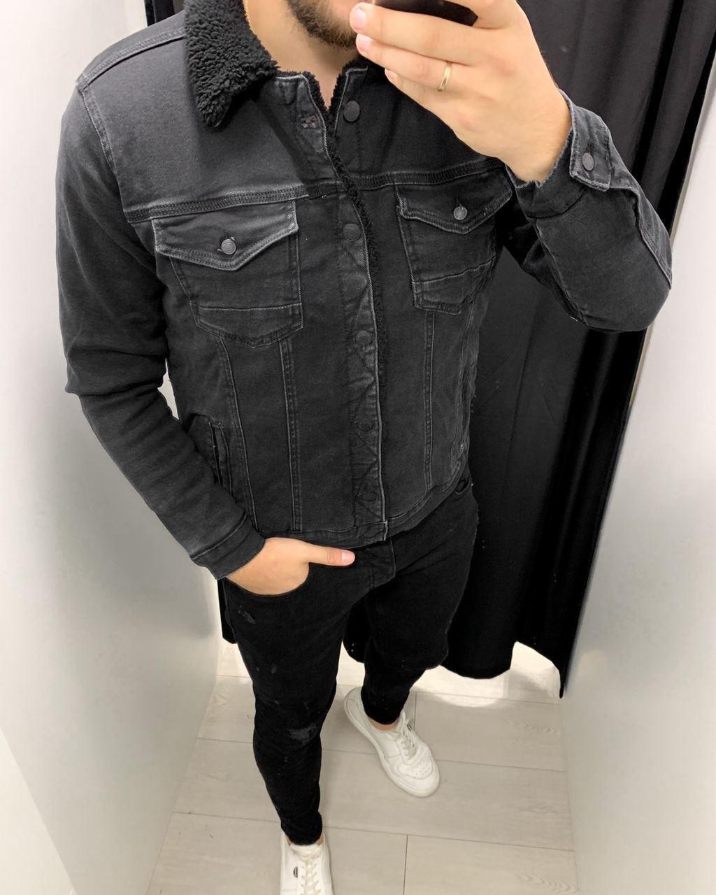 Джинсовка - Мужская черная джинсовая куртка (утепленная на овчине)