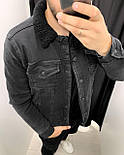 Джинсовка - Мужская черная джинсовая куртка (утепленная на овчине), фото 3
