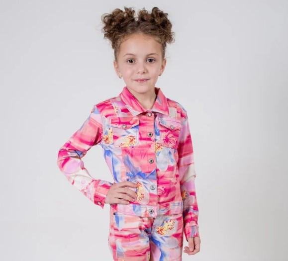Детский пиджак для девочки Верхняя одежда для девочек Pezzo D'oro Италия FK52915 корал-мультиколор