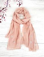 Тонкий шарф Fashion Асия из вискозы 180*80 см пудровый