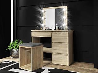 Туалетний столик із дзеркалом та підсвічуванням Homart 6 LED сонома (9284)