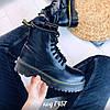 Демисезонные черные ботинки из эко-кожи на высокой платформе  (5А)