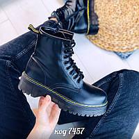 Демисезонные черные ботинки из эко-кожи на высокой платформе  (5А), фото 1