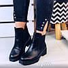 Черные зимние ботинки из натуральной кожи на низком каблуке с широкими резинками по бокам(11А)