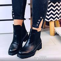 Черные зимние ботинки из натуральной кожи на низком каблуке с широкими резинками по бокам(11А), фото 1