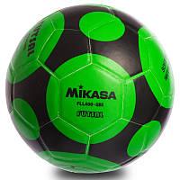 Мяч футзальный для футбола MIKASA 4 размер Клееный Зеленый Черный (СПО FLL400)
