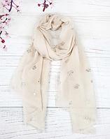 Тонкий шарф Fashion Асия из вискозы 180*80 см бежевый