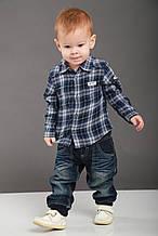 Детская рубашка для мальчика Праздничная одежда для мальчиков BRUMS Италия 123BDDC006 голубой-синий