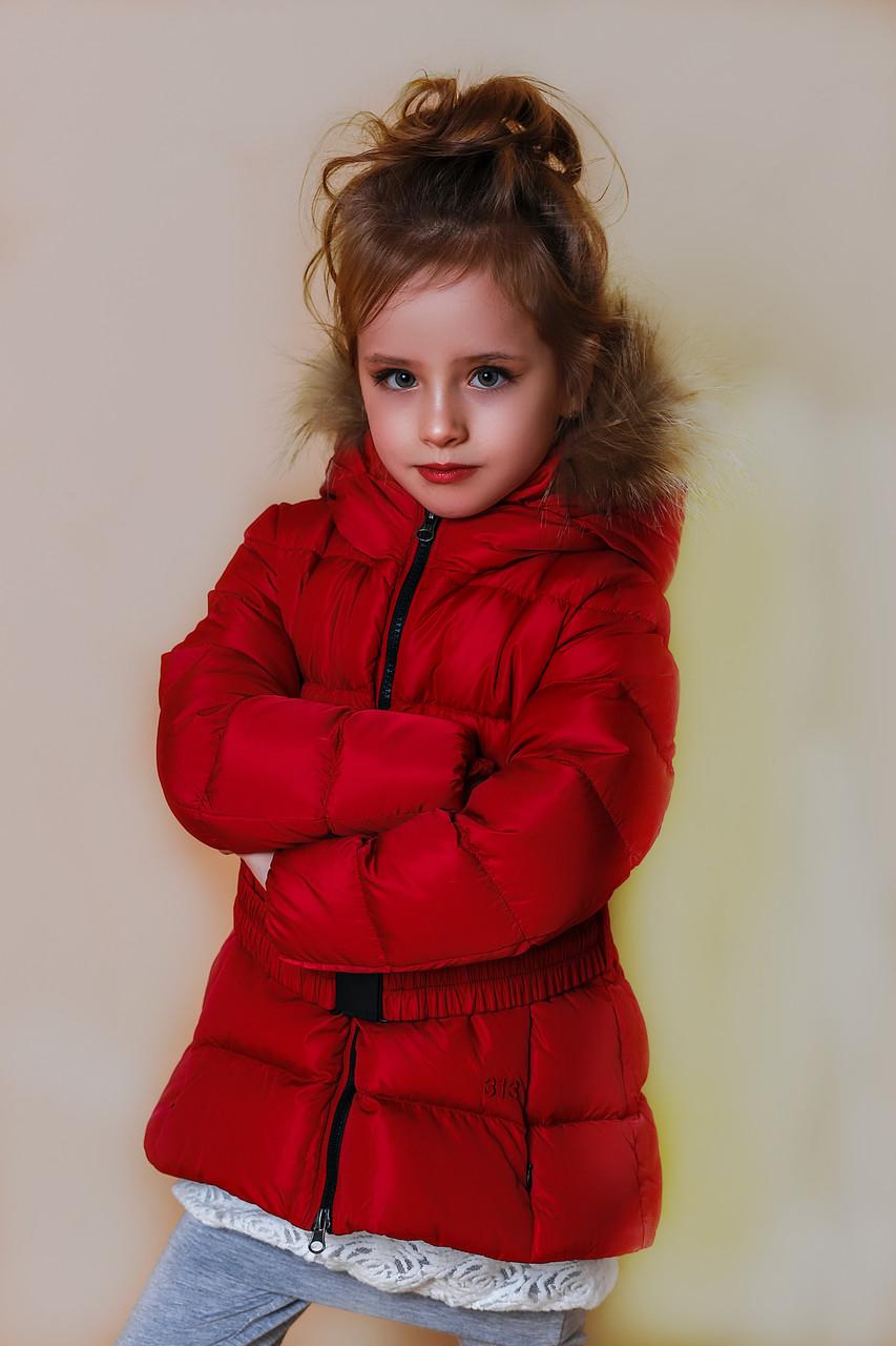 Детская куртка для девочки Верхняя одежда для девочек 313 Италия GDG003 Красная