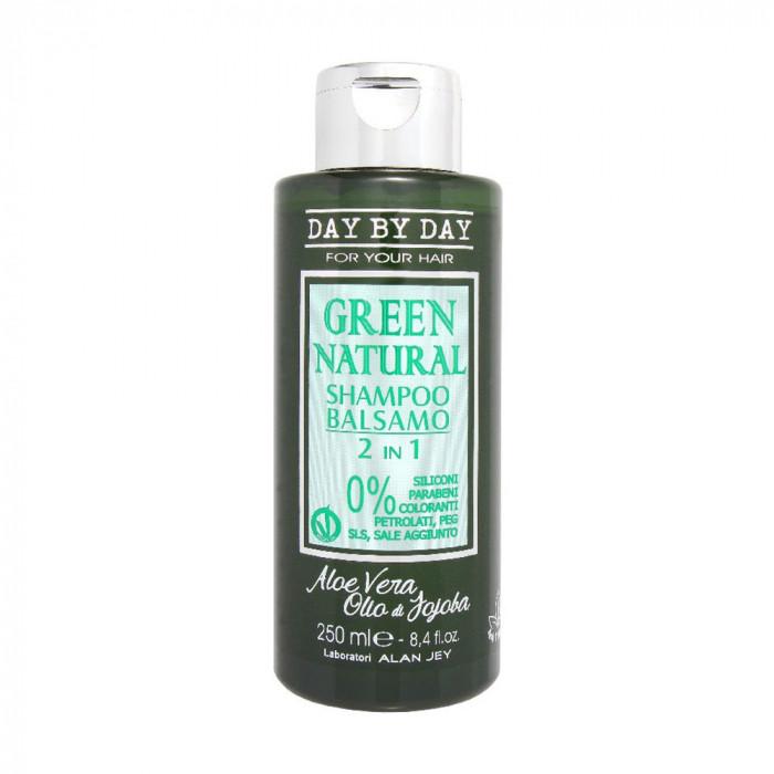 Шампунь-бальзам для волос Alan Jey Green Natural 2 in 1 с маслом жожоба и алоэ вера, 250 мл