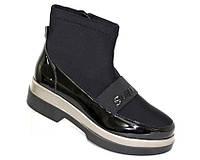 Демисезонные женские лакированные ботинки на платформе