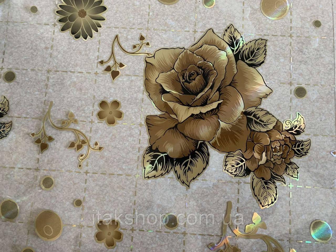М'яке скло Скатертину з лазерним малюнком для меблів Soft Glass 1.7х0.8м товщина 1.5 мм Кавова троянда