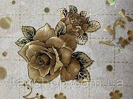 М'яке скло Скатертину з лазерним малюнком для меблів Soft Glass 1.7х0.8м товщина 1.5 мм Кавова троянда, фото 3