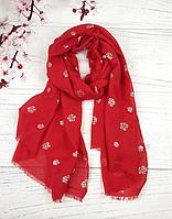 Тонкий шарф Fashion Асия из вискозы 180*80 см красный