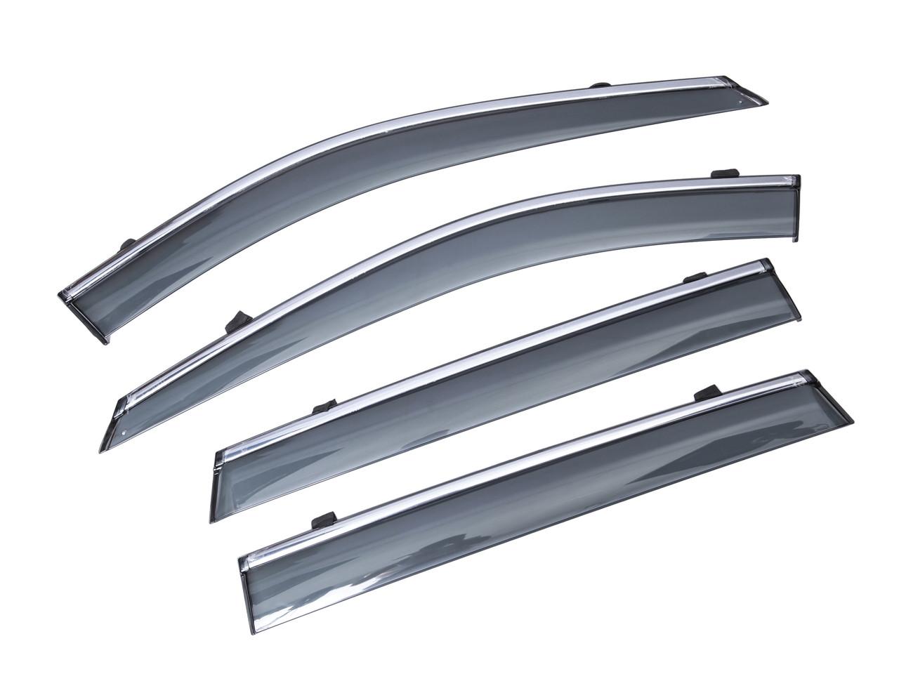 Дефлекторы окон (ветровики) с хромом NISSAN ROGUE 2014-