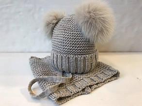 Комплект шапка + шарф для девочки BARBARAS Польша RV334 \ YL Бежевый весенний осенний демисезонный