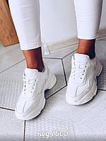 Белые легкие кроссовки из эко-кожи на шнурках  (10А), фото 1