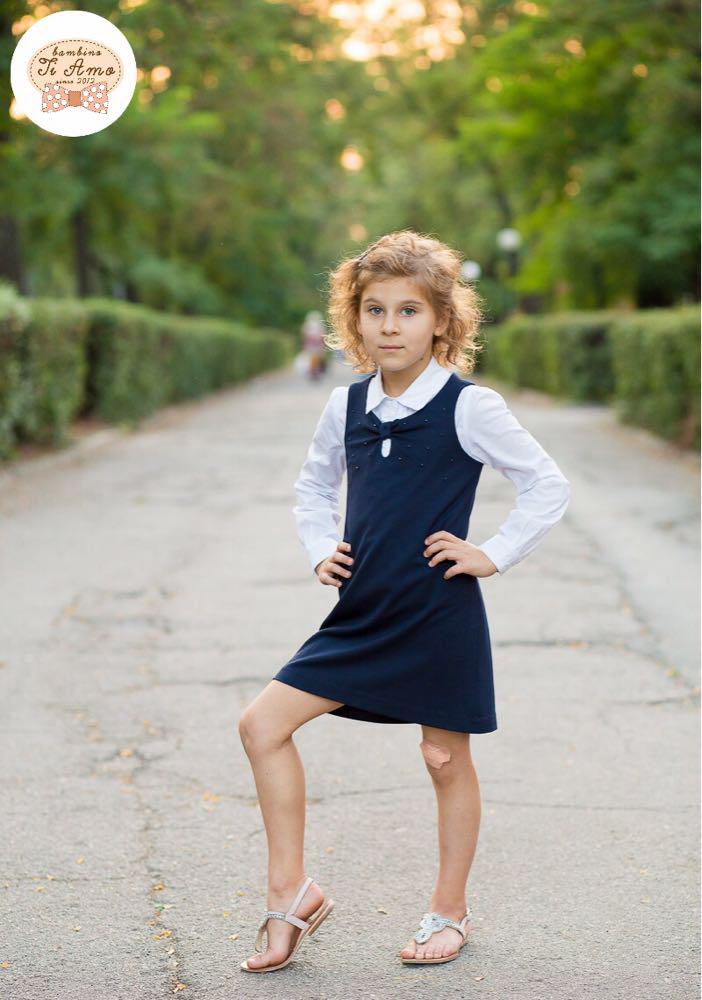 Школьный сарафан для девочки Школьная форма для девочек SILVER-SPOON Италия SS13G-1707-040 синий