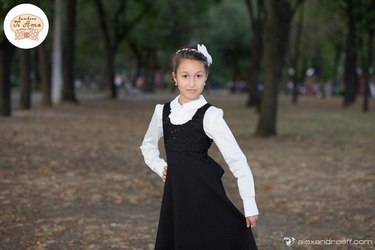 Школьный сарафан для девочки Школьная форма для девочек SILVER-SPOON Италия SS14G-1714-001 черный 128