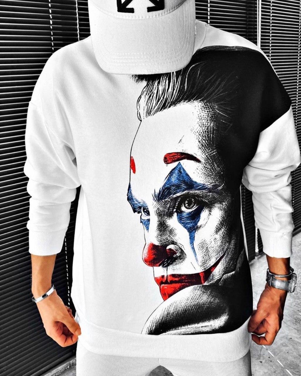 😜 Свитшот - Мужской свитшот белый Joker