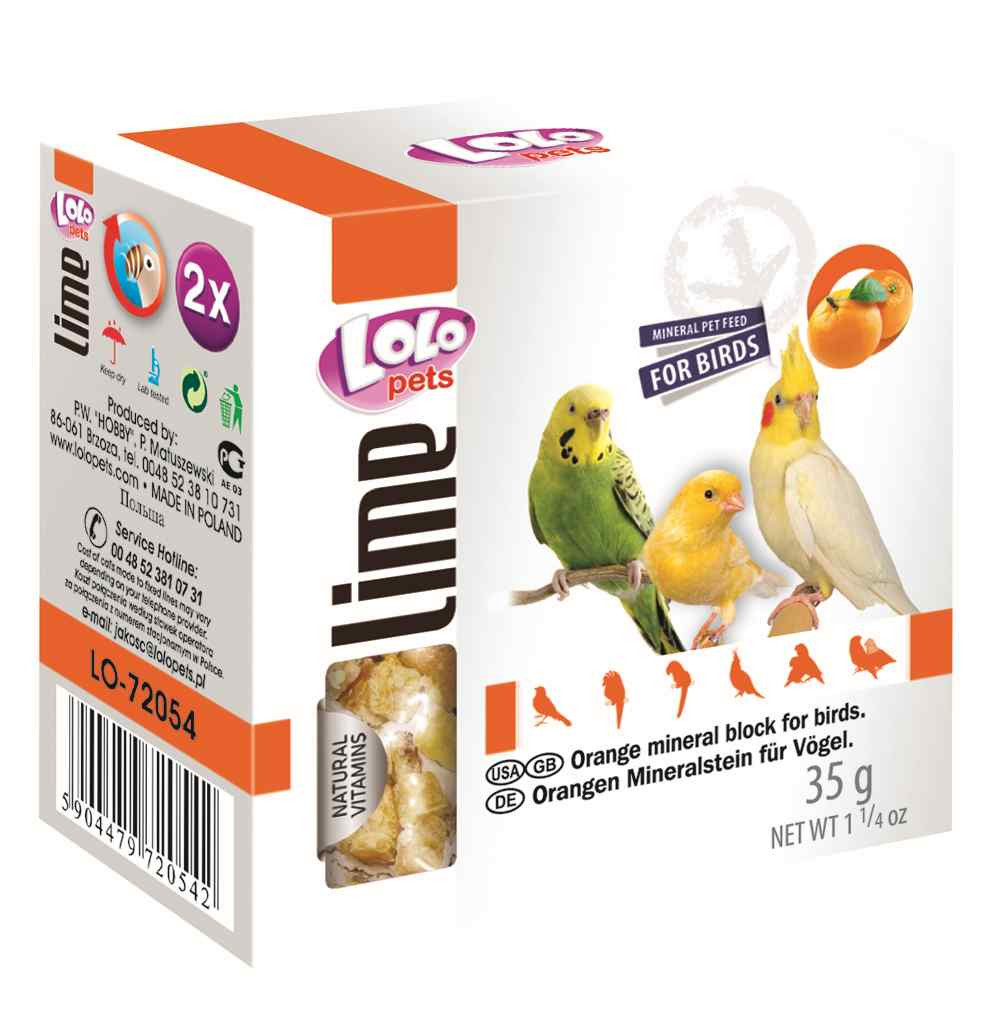 Мел для птиц апельсиновый 35 г, Lolopets
