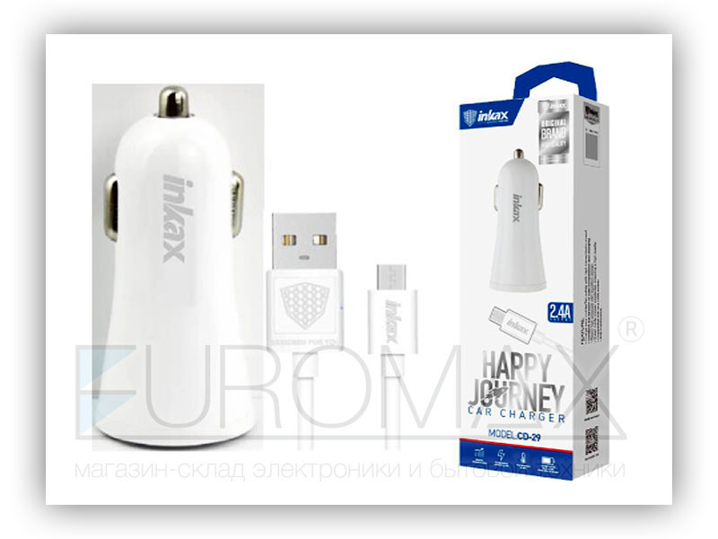 Зарядное устройство для авто 12В с кабелем USB - micro USB Inkax CD-29-M-V8