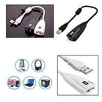 Внешняя звуковая карта 5HV2 (USB sound card) с разъёмами 3,5мм для колонок/наушников и микрофона чёр