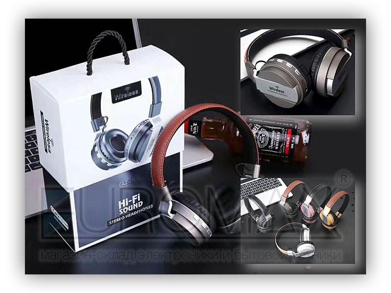 Наушники накладные BT FM SD 60шт AZ-03-BT