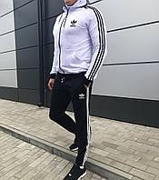 Модний чоловічий спортивний костюм демісезонний Adidas чорний з білим (репліка)