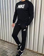 Спортивний костюм чоловічий демісезонний чорний з білим логотипом Nike (репліка)