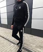 Молодіжний чоловічий демісезонний спортивний костюм з капюшоном Adidas чорний (репліка)